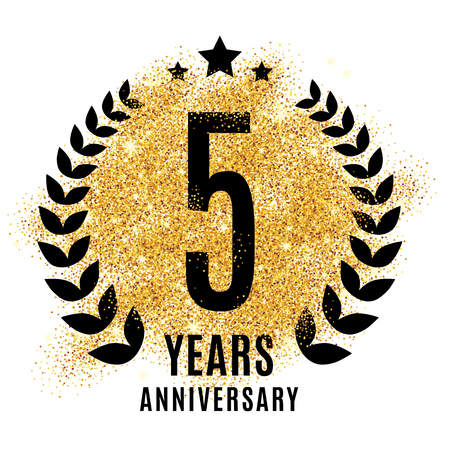 five years': Five years golden anniversary sign