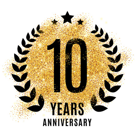 Ten years golden anniversary sign
