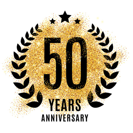Fifty years golden anniversary sign. Gold glitter celebration. Light bright symbol for event, invitation, award, ceremony, greeting. Laurel and star emblem, luxury elegant icon.