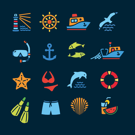 fishing boats: Marine line icon color