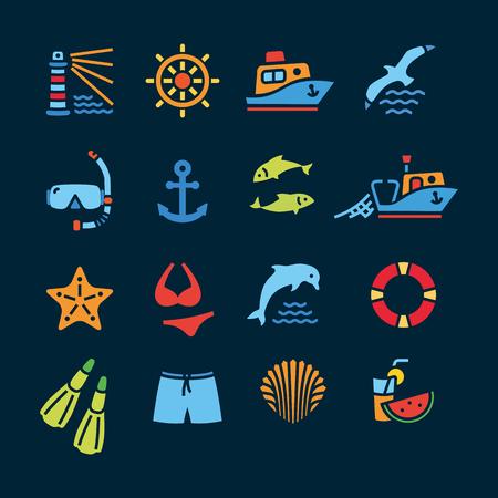 sail fin: Marine line icon color