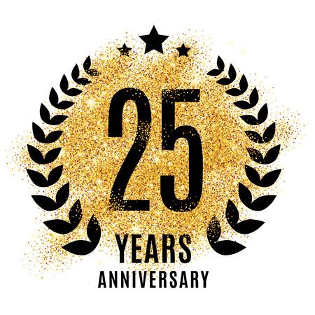 twenty fifth: Twenty years gold anniversary symbol.