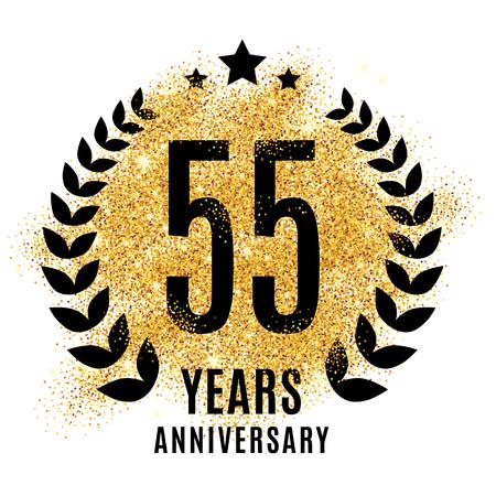 twenty fifth: Fifty-five years golden 55 anniversary sign. Gold glitter celebration. Light bright symbol for event, invitation, award, ceremony, greeting. Laurel and star emblem, luxury elegant icon.