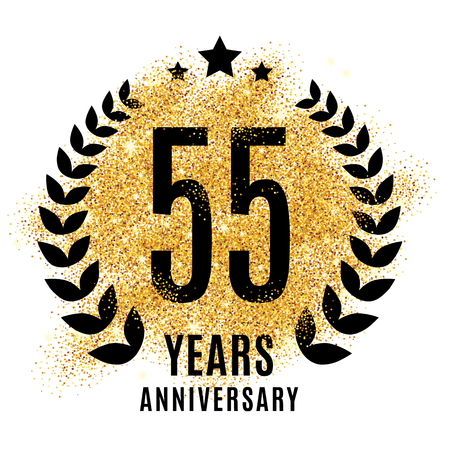 Fifty-five years golden 55 anniversary sign. Gold glitter celebration. Light bright symbol for event, invitation, award, ceremony, greeting. Laurel and star emblem, luxury elegant icon.