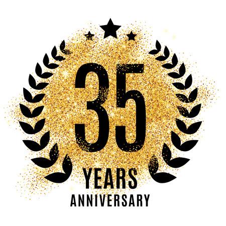 twenty fifth: thirty five golden anniversary sign. Gold glitter celebration. Light bright symbol for event, invitation, award, ceremony, greeting. Laurel and star emblem, luxury elegant icon. Illustration