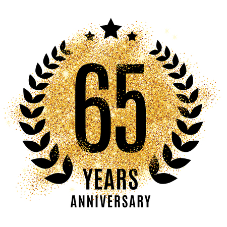 Sixty-five years gold anniversary symbol Illustration