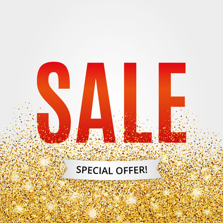 golden frame: Gold sale red background poster, shopping for sale sign discount, marketing