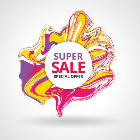 liquid splash: Super sale color marble background banner