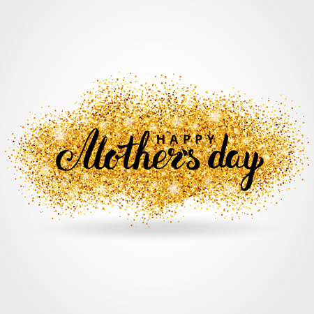 Mother day gold glitter background. Gold glitter. Gold background for greeting card, poster, sign,  web header. Abstract sparkle background for mother day. Gold blur background.