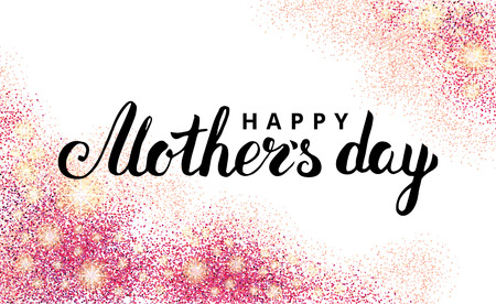 Happy mother day pink glitter background. Sparkles design in frame, border for greeting card, poster, sign,  web header. Abstract sparkle texture for mothers day. Red Light blur sequin. Stock Photo