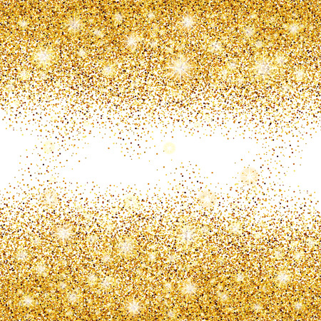 privilege: Gold sparkles on white background in frame. Gold glitter background. Gold background for card, vip exclusive certificate, gift, luxury privilege, voucher store present, shopping.