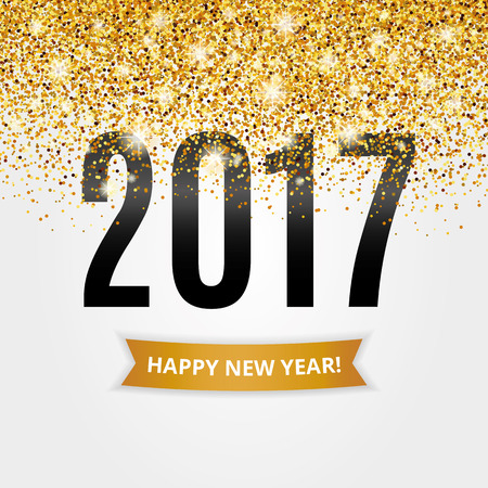 Happy new year. Gold glitter New Year. Gold background for  poster. Sign symbol.  web, header. Abstract golden background for text. Type quote. Gold blur background. 向量圖像