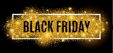 Black friday sale gold glitter background. Black shine gold sparkles background. Black friday sale for  web, header and  design. Christmas and new year shopping.