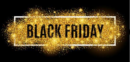 Venerdì nero vendita oro glitter background. Nero brillare l'oro luccica sfondo. vendita venerdì nero per il web, l'intestazione e il design. Natale e nuovo anno commerciale.