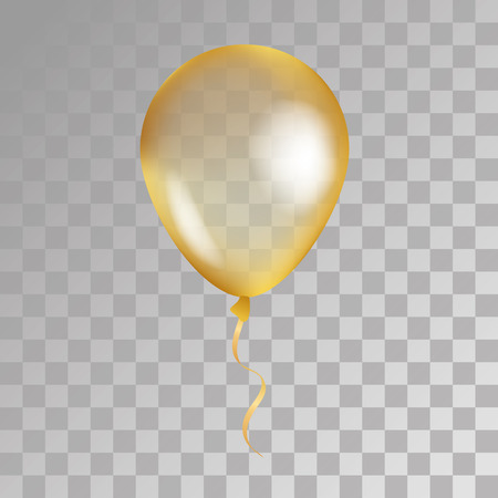 Gold transparent balloon on background. Frosted party balloons for event design. Balloons isolated in the air. Party decorations for birthday, anniversary, celebration. Shine transparent balloon. Illustration