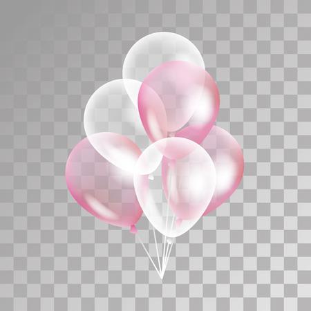 globo transparente de color rosa en el fondo. Helada parte globos para el diseño de eventos. Globos aislados en el aire. decoraciones de la fiesta de cumpleaños, aniversario, celebración. Shine globo transparente.