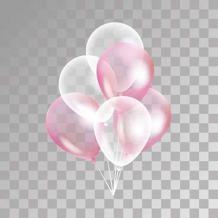 Pink transparent balloon on background. Frosted party balloons for event design. Balloons isolated in the air. Party decorations for birthday, anniversary, celebration. Shine transparent balloon. Vettoriali