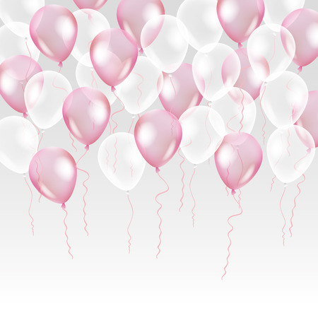 배경에 핑크 투명 풍선입니다. 이벤트 디자인에 젖 빛 파티 풍선. 공중에 고립 된 풍선. 생일, 기념일, 축하 파티 장식. 투명 풍선 샤인.