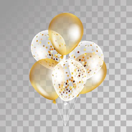 globo transparente de oro en el fondo. Helada parte globos para el diseño de eventos. Globos aislados en el aire. decoraciones de la fiesta de cumpleaños, aniversario, celebración. Shine globo transparente. Ilustración de vector