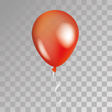 Red transparent balloon on background. Frosted party balloons for event design. Balloons isolated in the air. Party decorations for birthday, anniversary, celebration. Shine transparent balloon.