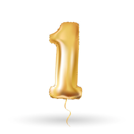 Golden number one metallic balloon