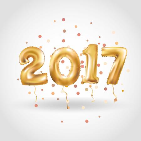 Metallic Gold beschriften Ballone, 2017 Frohes neues Jahr, Gold Anzahl Luftballons, Alphabet Letter Luftballons, Anzahl Luftballons, Luft gefüllter Ballon Standard-Bild - 66538387
