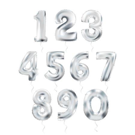 Argento metallizzato Lettera Palloncini, 123 silvern Alphabeth cifra. Numero d'argento palloncini, 1, Alfabeto Lettera Balloons, 2, numero palloncini, 3 aria piena Balloon Archivio Fotografico - 66824952