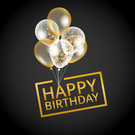 Balloons happy birthday on black. Gold balloon sparkles holiday background. Happy Birthday to you, card, banner, web, design. Happy Birthday and new year card. Gold white transparent balloon background Çizim
