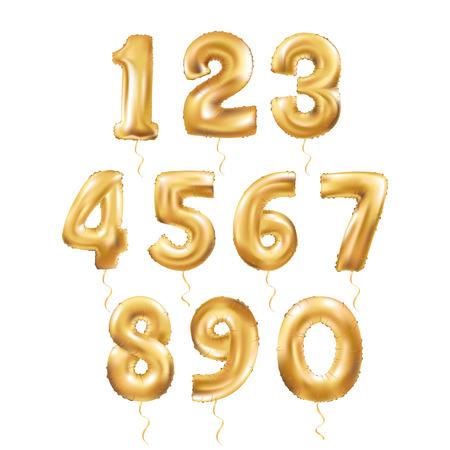 Globos metálicos de oro de la letra, 123 de oro alphabeth numérica. Número de Oro Globos, 1, la letra del alfabeto globos, 2, Número globos, llenos de aire del globo 3 Ilustración de vector