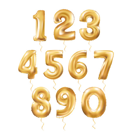 Metallic Gold Letter Balloons, 123 golden numeral alphabeth. Gold Number Balloons, 1, Alphabet Letter Balloons, 2, Number Balloons, 3 Air Filled Balloon Stock fotó - 67581288