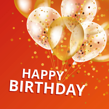 Balloons happy birthday. Gold and red balloons background Happy Birthday. Happy Birthday background. Greeting background for card, poster sign banner web postcard, invitation. Gold blur background.