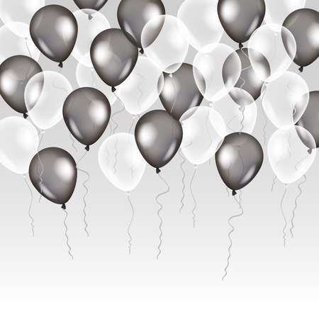 Black white transparent balloon on background. Frosted party balloons for event design. Balloons isolated in the air. Party decorations for birthday, anniversary, celebration. Shine transparent balloon.