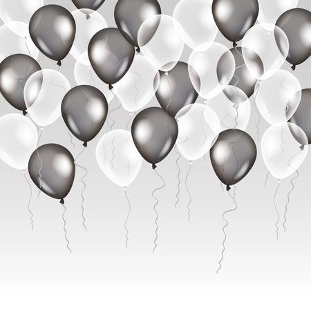 Zwarte witte transparante ballon op de achtergrond. Matte partij ballonnen voor event design. Ballons die in de lucht. Partij decoraties voor verjaardag, verjaardag, viering. Shine doorzichtige ballon. Stock Illustratie