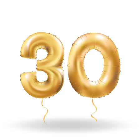 Golden number thirty metallic balloon. Party decoration golden balloons. Anniversary sign for happy holiday, celebration, birthday, carnival, new year. Metallic design balloon. Ilustracja
