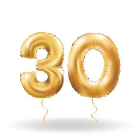Golden number thirty metallic balloon. Party decoration golden balloons. Anniversary sign for happy holiday, celebration, birthday, carnival, new year. Metallic design balloon. Illustration