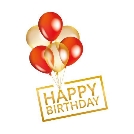 Balloons happy birthday on black. Gold and red balloon sparkles holiday background. Happy Birthday to you, card, banner, web, design. Happy Birthday and new year card. Gold white transparent balloon background