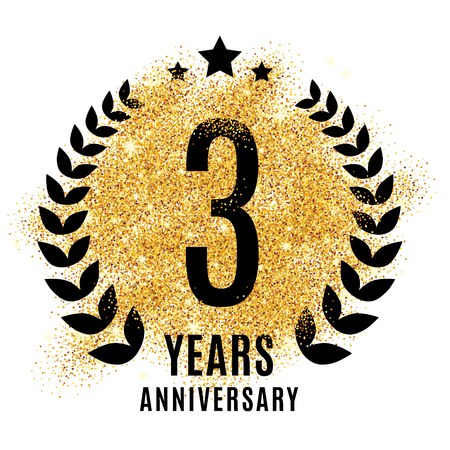 rd: Three years anniversary symbol. Gold glitter icon celebration poster, banner, web header. Golden sparkles event.