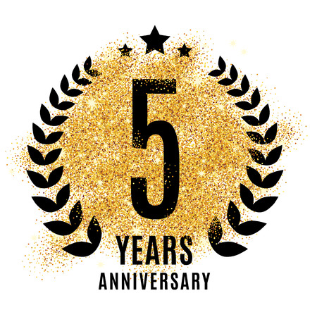 5 years: Five years golden anniversary sign. Gold glitter celebration. Light bright symbol for event, invitation, award, ceremony, greeting. Laurel and star emblem, luxury elegant icon.