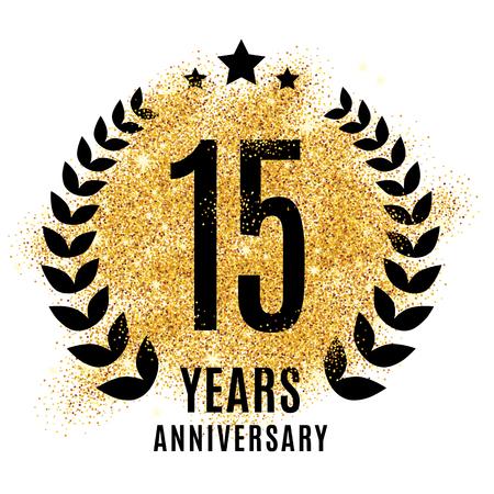 fifteen years golden anniversary sign. Gold glitter celebration. Light bright symbol for event, invitation, award, ceremony, greeting. Laurel and star emblem, luxury elegant icon.