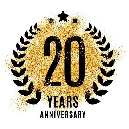 Twenty years gold anniversary symbol. 20th twenties. Golden glitter icon celebration for poster, banner, web header.