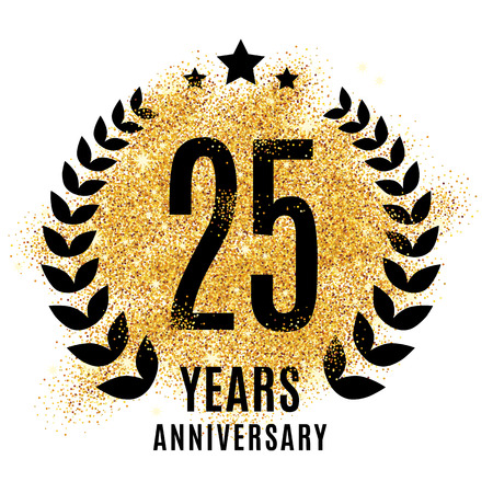 twenty five years gold anniversary symbol. 25. Golden glitter icon celebration for poster, banner, web header.