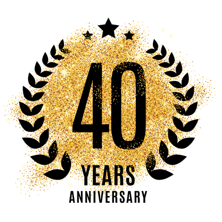 Fourty years gold anniversary symbol. 20th twenties. Golden glitter icon celebration for poster, banner, web header.