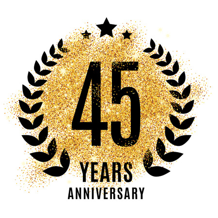 forty-five years gold anniversary symbol. 45 twenties. Golden glitter icon celebration poster, banner, web header. Stock Photo