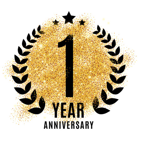 One year golden anniversary sign. Gold glitter celebration. Light bright symbol for event, invitation, award, ceremony, greeting. Laurel and star emblem, luxury elegant icon.