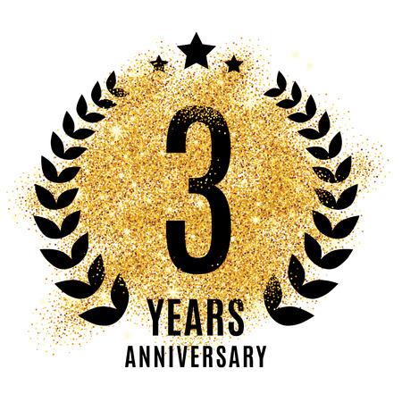 third birthday: Three years anniversary symbol.