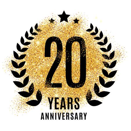 Twenty years gold anniversary symbol. 20th twenties. Illustration
