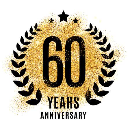 Sixty years gold anniversary symbol. 20th twenties.