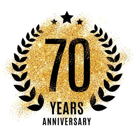 Seventy years golden anniversary sign. Gold glitter celebration.