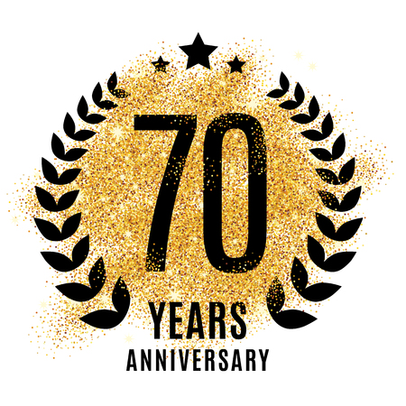 Seventy years golden anniversary sign. Gold glitter celebration.