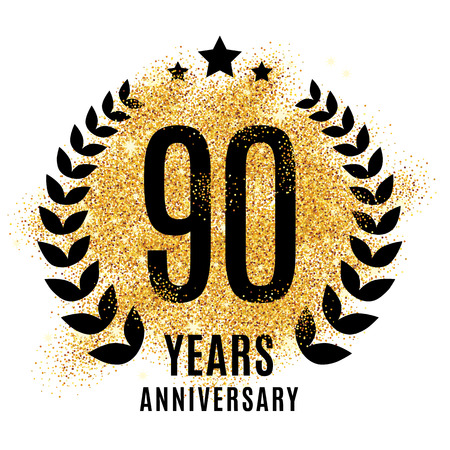 Ninety years golden anniversary sign. Ilustracja